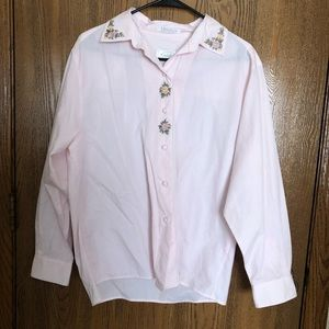 Foxcroft Floral Embroidered Button-Down Top